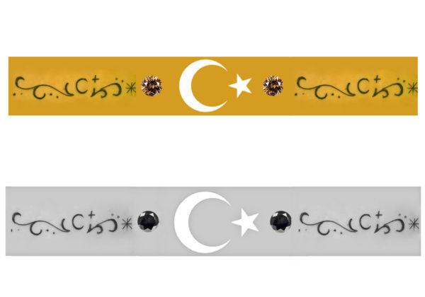 トルコ国旗の模様をいれた結婚指輪のデザイン画像