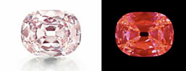 プリンシーダイヤモンドは希少性が高いオレンジ赤色蛍光を示した