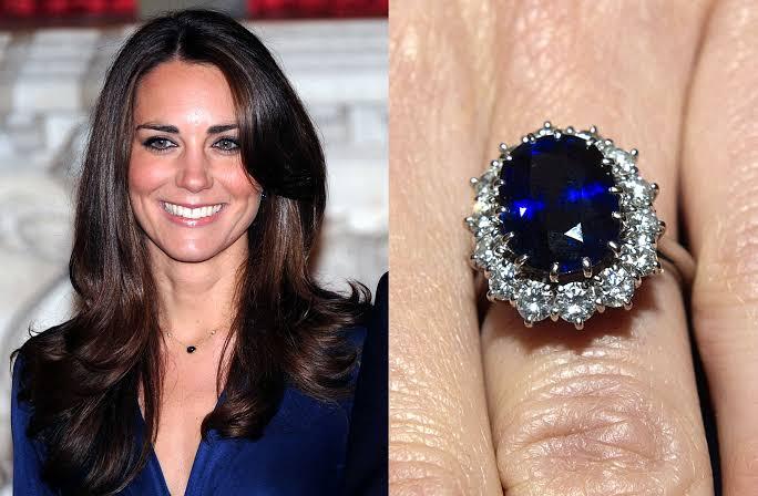 ケイトミドルトン妃とダイアナのサファイアの婚約指輪