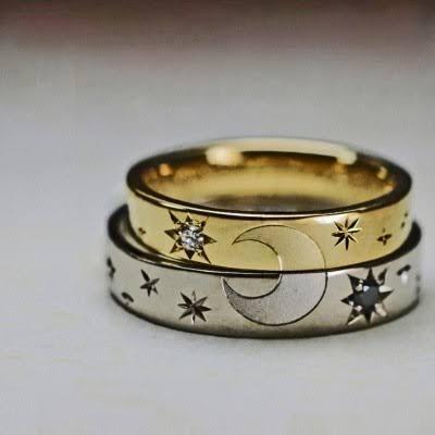 結婚指輪を2本重ねて月と星の柄を作るオーダーメイド作品