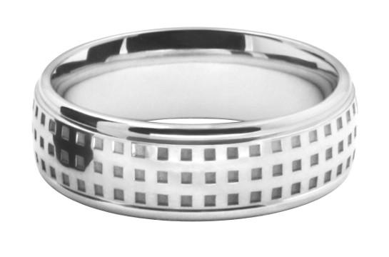 スクエアドットのパターン模様をレーザー彫刻したメンズの結婚指輪オーダーメイド