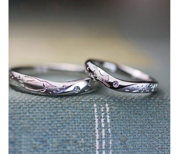 ネコとペンギンの模様が入った結婚指輪をオーダー