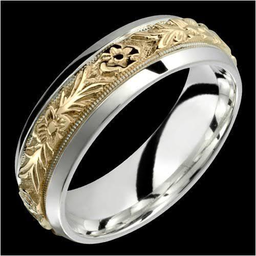 金細工職人の華.指輪に手彫りの模様 和柄2