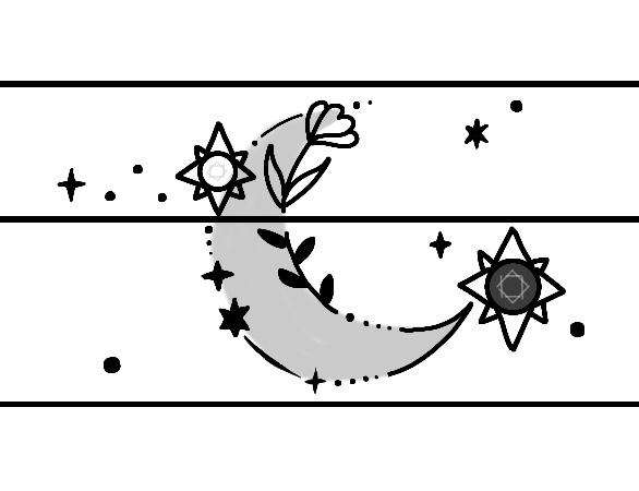 結婚指輪に入れる月とサクラ草の模様の完成デザイン画