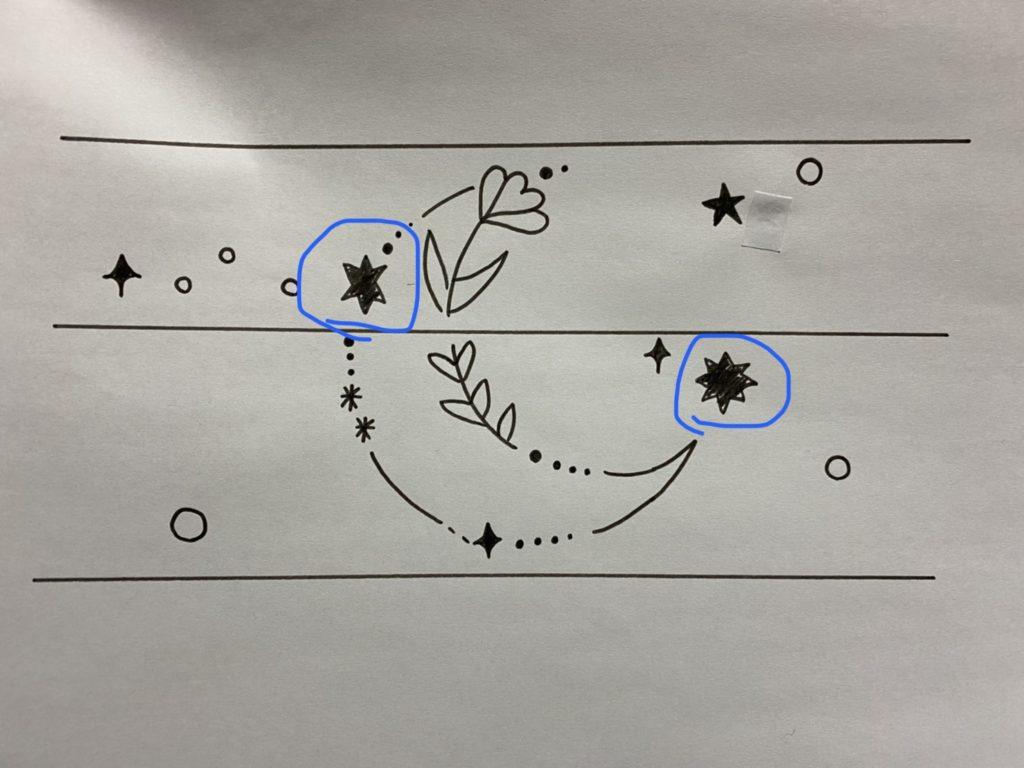 結婚指輪に入れる月とサクラ草の模様のラフデザイン