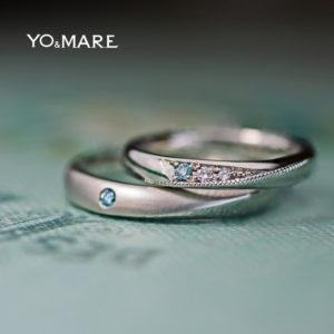 ブルーダイヤを同じ場所にペアで留めた結婚指輪オーダーメイド作品