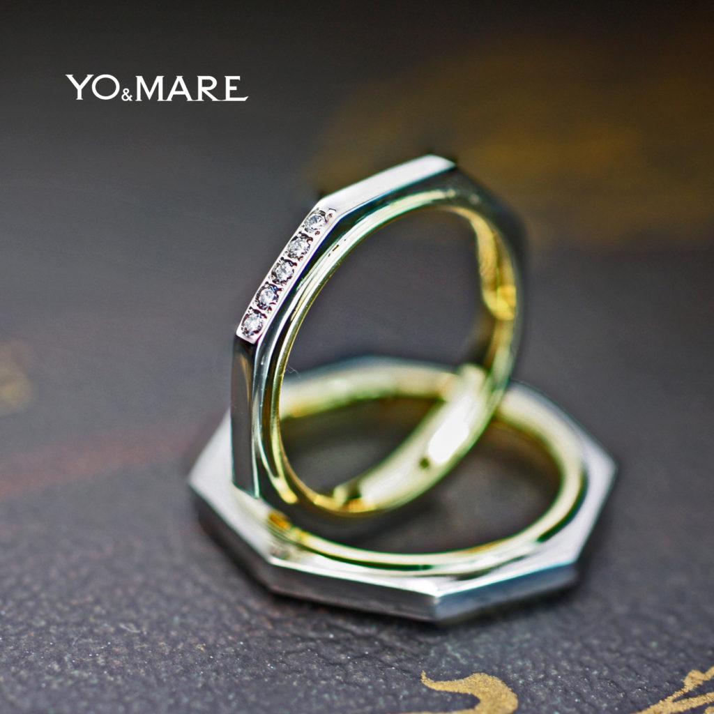 八角形の結婚指輪をプラチナとゴールドでデザインしたオーダー作品