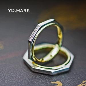八角形の結婚指輪をプラチナとゴールド【カラーコンビ】したオーダー作品