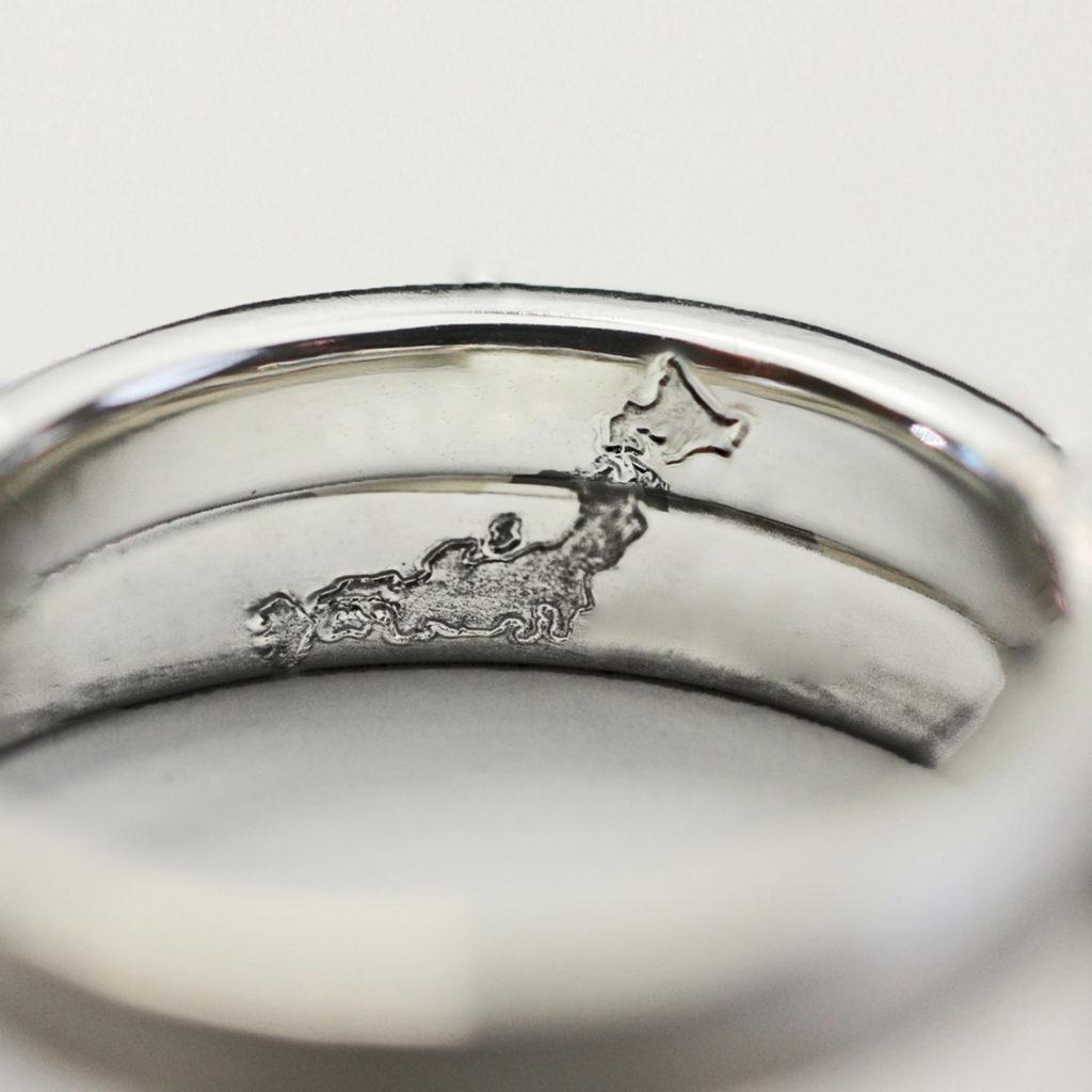 結婚指輪の内側に日本地図を入れたオーダー作品