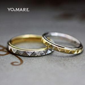 ゴールド&プラチナの結婚指輪に和柄パターンを入れたオーダー作品