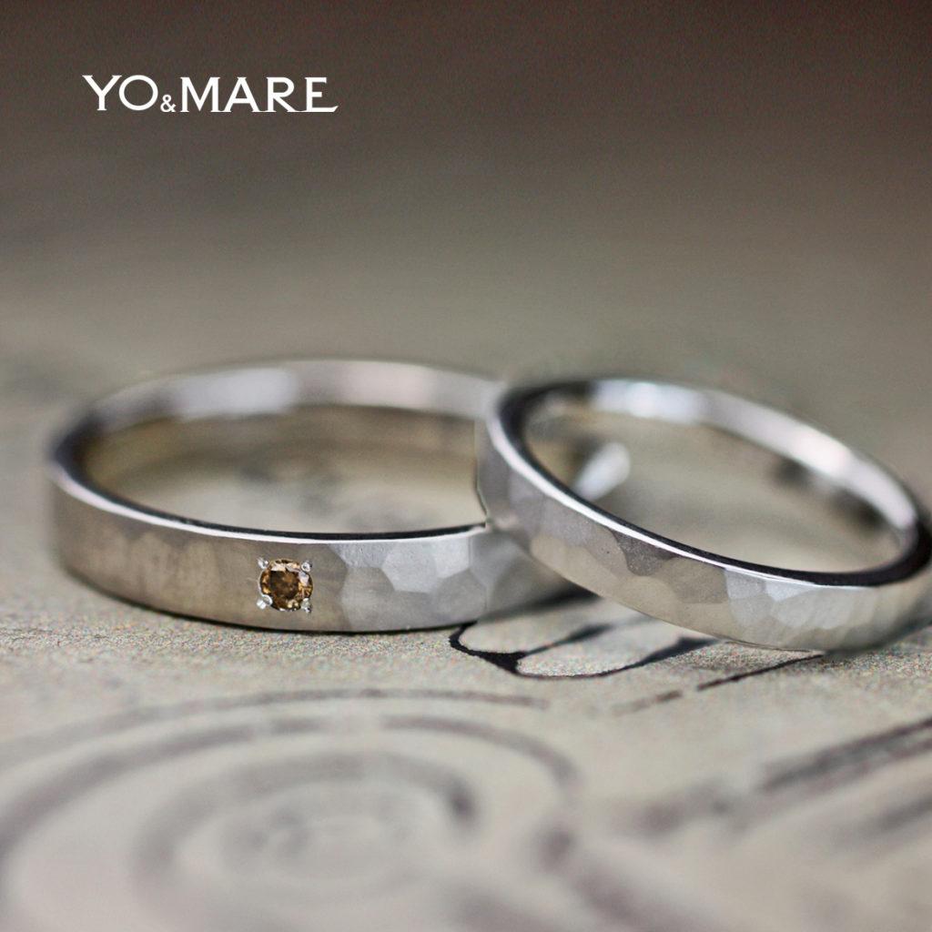 ツチメ&艶消しの結婚指輪の内側に日本地図を入れたオーダー作品