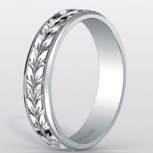 リーフ模様が一周入ったのメンズ結婚指輪