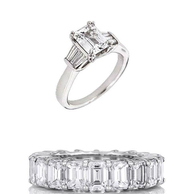 3.婚約指輪がスリーストーンのダイヤの場合の結婚指輪セットリング