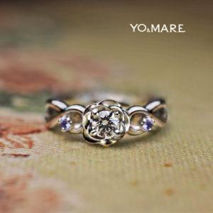青いバラをイメージしてタンザナイトを添えた婚約指輪のオーダー作品