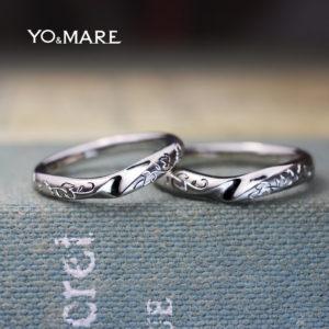 美しいリーフ模様を緩やかなラインの結婚指輪に入れたオーダー作品