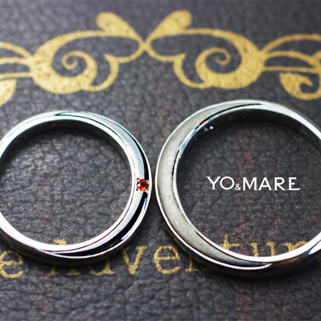結婚指輪の横に月をデザインしたオーダーメイド作品