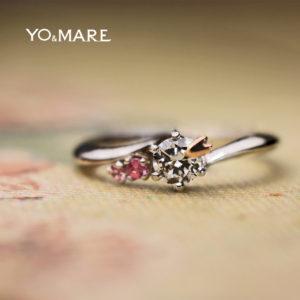 ダイヤモンドにピンクゴールドのサクラが寄り添う婚約指輪オーダー