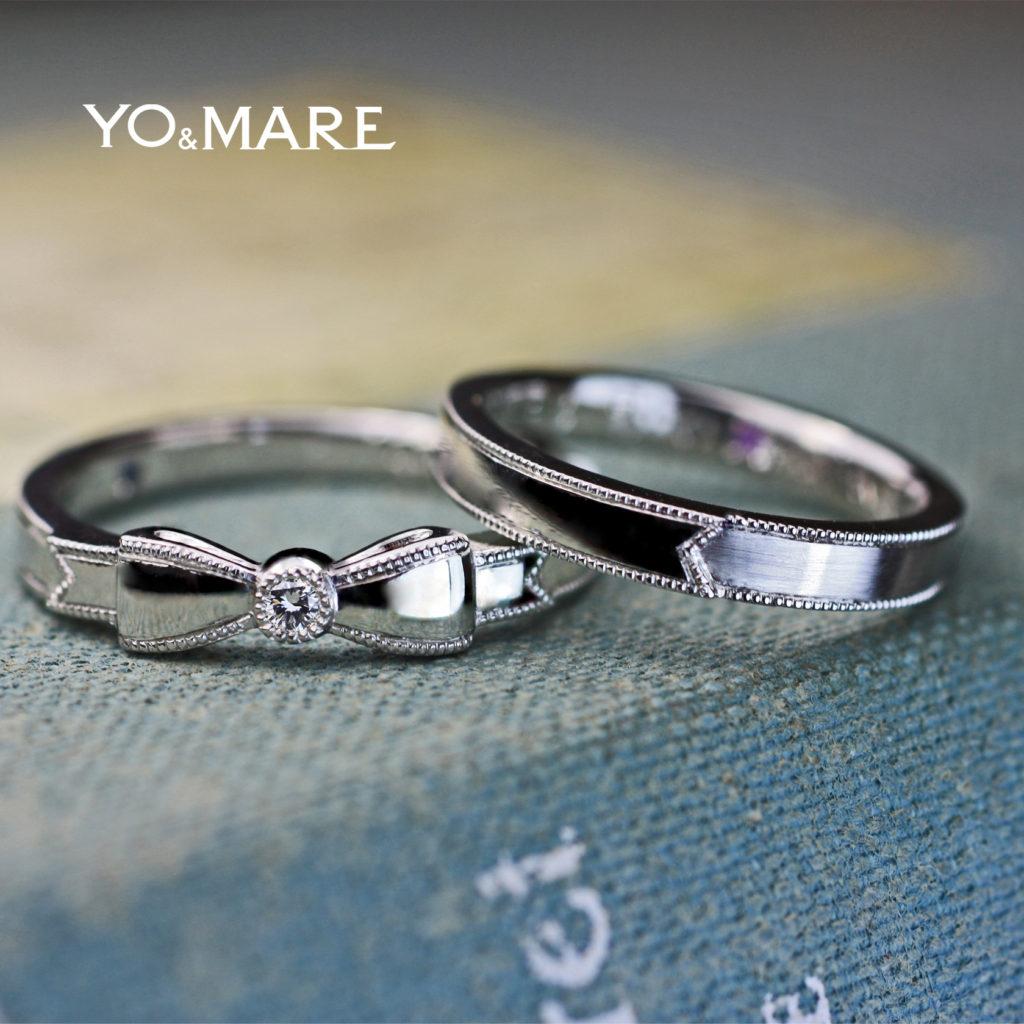 プレゼントリボンを結婚指輪にデザインしたオーダーメイド作品