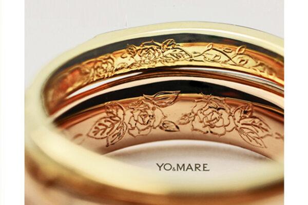 結婚指輪の内側にバラの模様をいれたオーダーメイド作品
