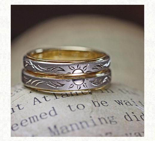 結婚指輪を二本重ねて太陽の模様を作る、プラチナとゴールドのコンビリング、オーダー作品