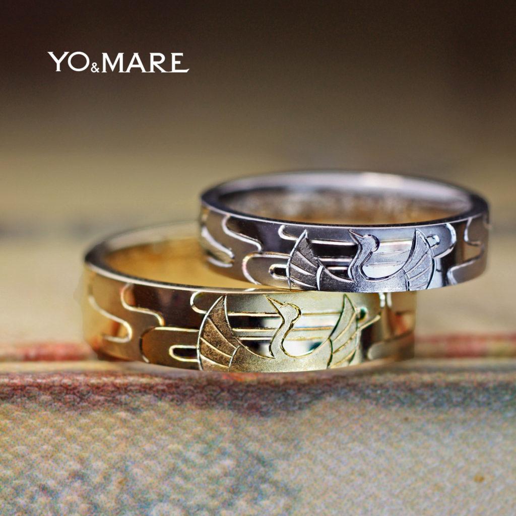 鶴と菊の模様を前後に入れた手彫り和柄の結婚指輪オーダーメイド作品