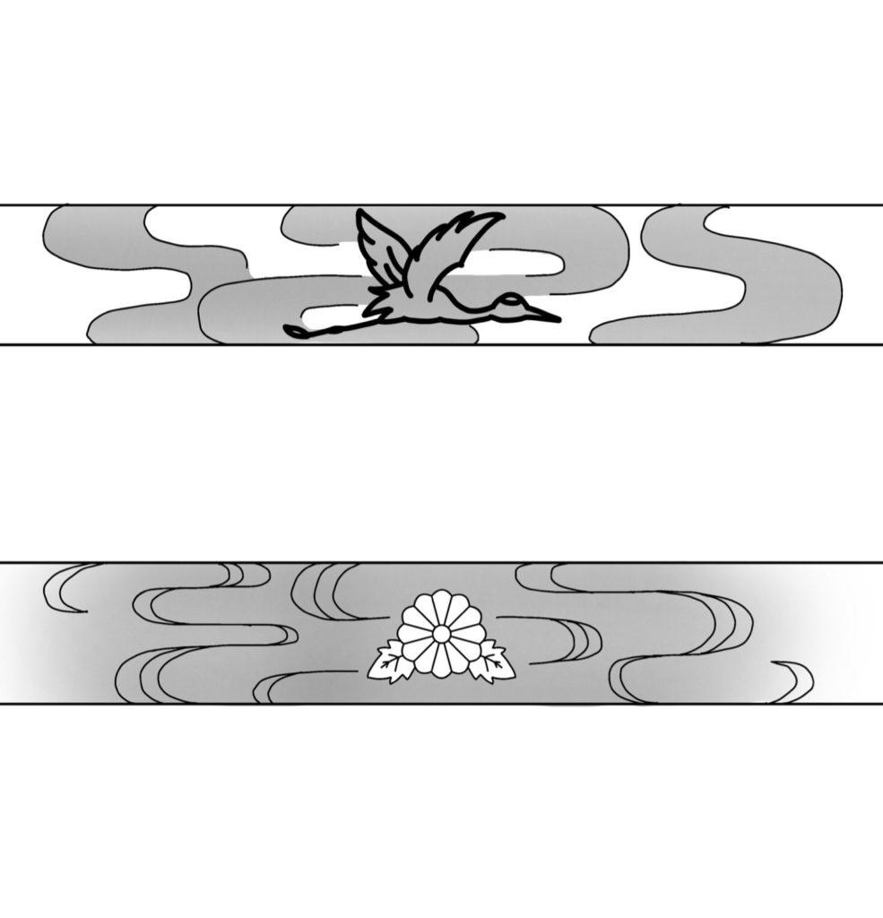結婚指輪に入れる鶴と菊の模様のデザイン画
