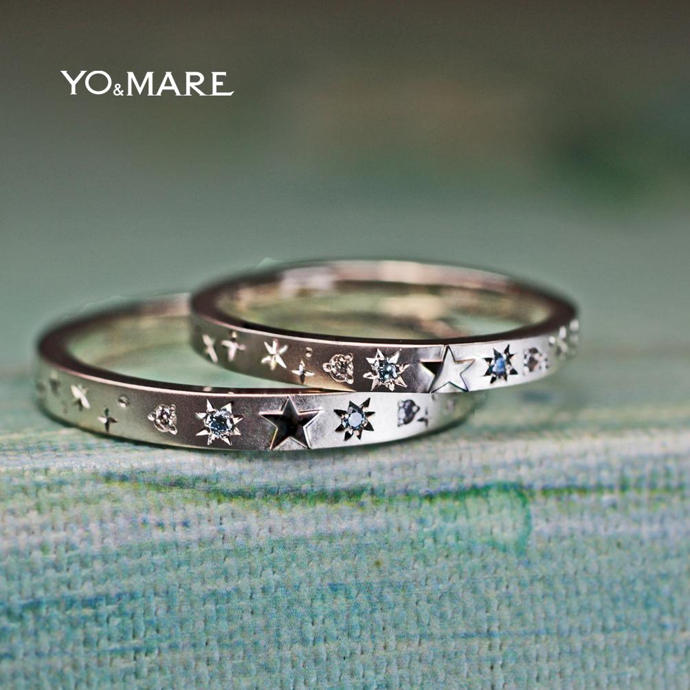 星とブルーダイヤ結婚指輪に一周デザインしたオーダーメイド作品