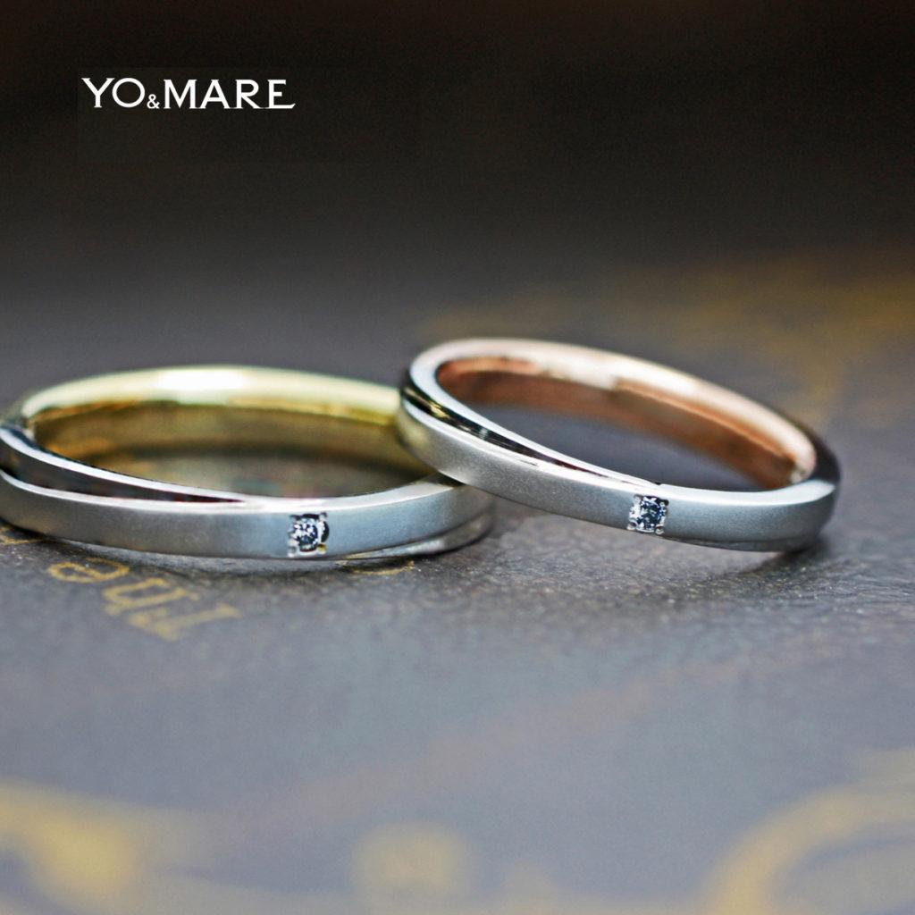 プラチナ結婚指輪の内側がピンクとゴールドのコンビオーダー作品
