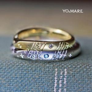 好きなクラッシック音楽の楽譜を結婚指輪に入れたオーダーメイド作品
