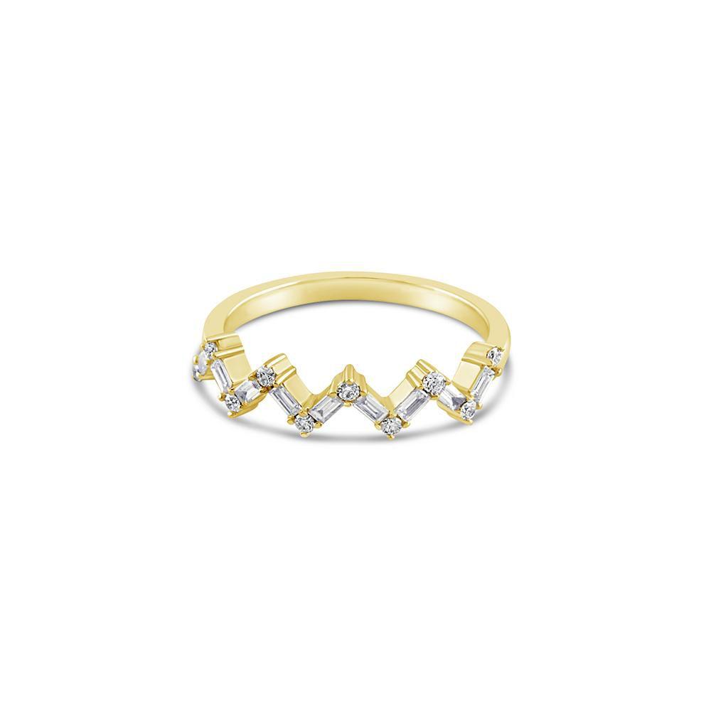 J.ルウ・バゲットとラウンドダイヤを留めたジグザグデザインのゴールドリング