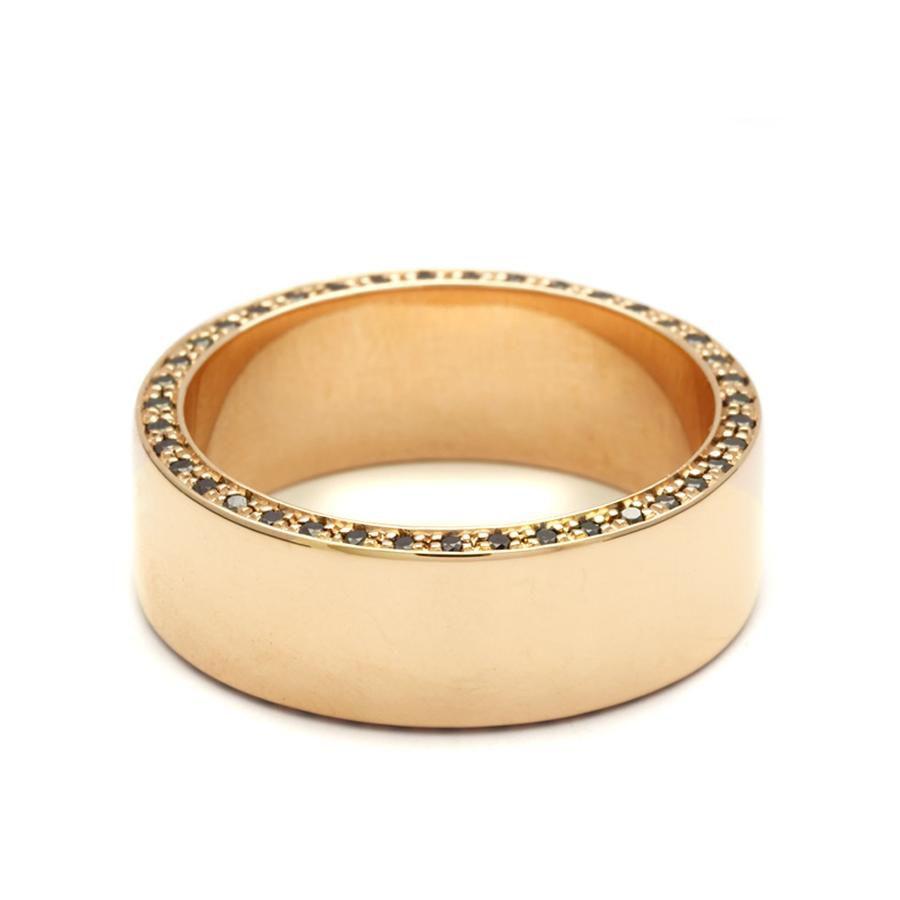アンナシェフィールド・ゴールドとブラックダイヤのメンズ結婚指輪