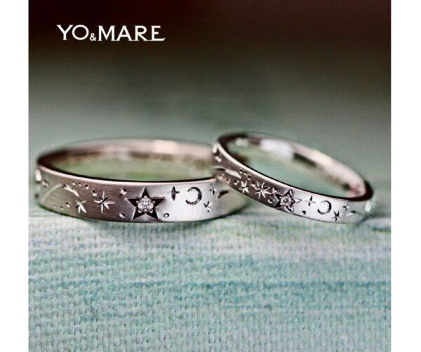 満天の星の世界をダイヤと模様で表現したオーダーメイド結婚指輪