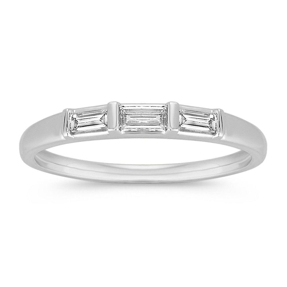 シェーン社・バゲットダイヤモンドが3ピース並んだ艶消しマットの結婚指輪