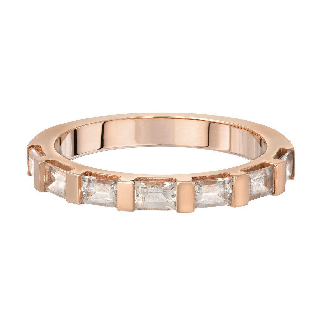period・バゲットダイヤがハーフに並んだピンクゴールドの結婚指輪