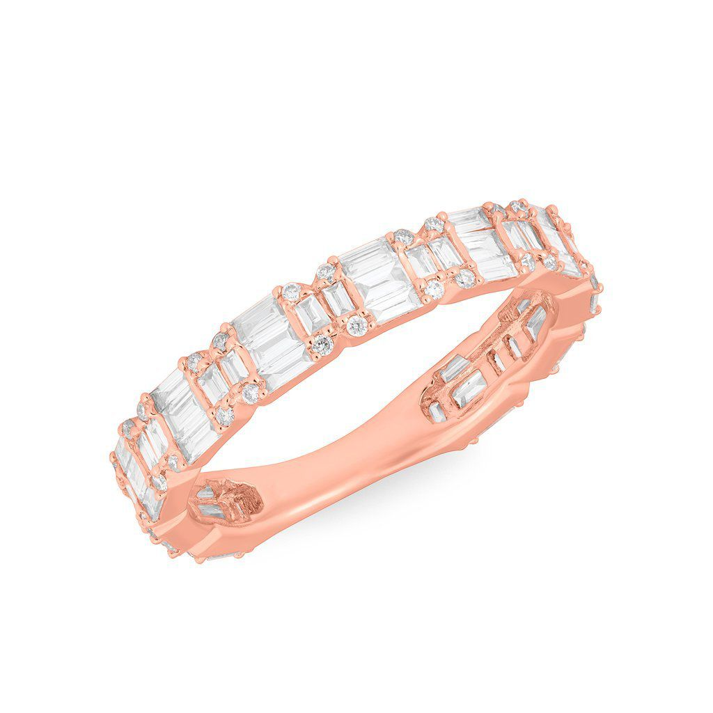 アンシステロン・ピンクゴールドの1バゲットダイヤモンド結婚指輪