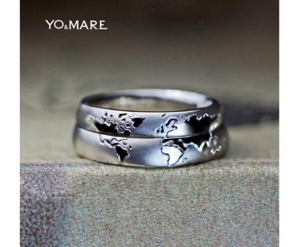 結婚指輪を重ねて世界地図をつくるリングが完成!