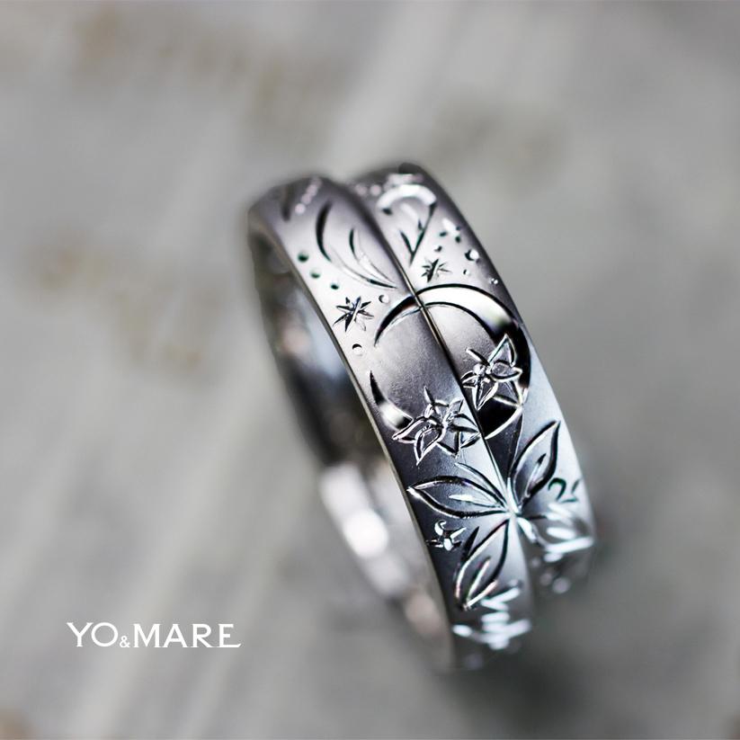 月とユリの手彫り模様の入った結婚指輪オーダーメイド作品