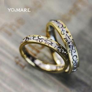 ユリモチーフの柄が入ったゴールド&プラチナの結婚指輪オーダー作品