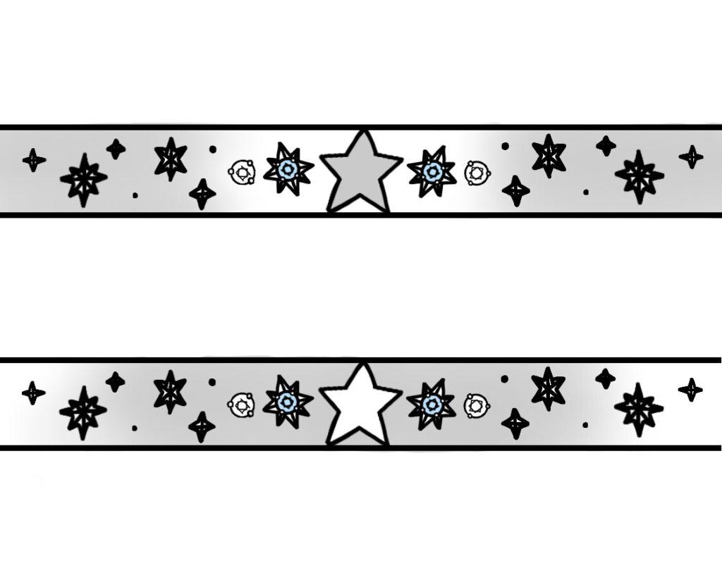 星とブルーダイヤ結婚指輪に一周デザインしたオーダーメイド作品のラフデザイン画