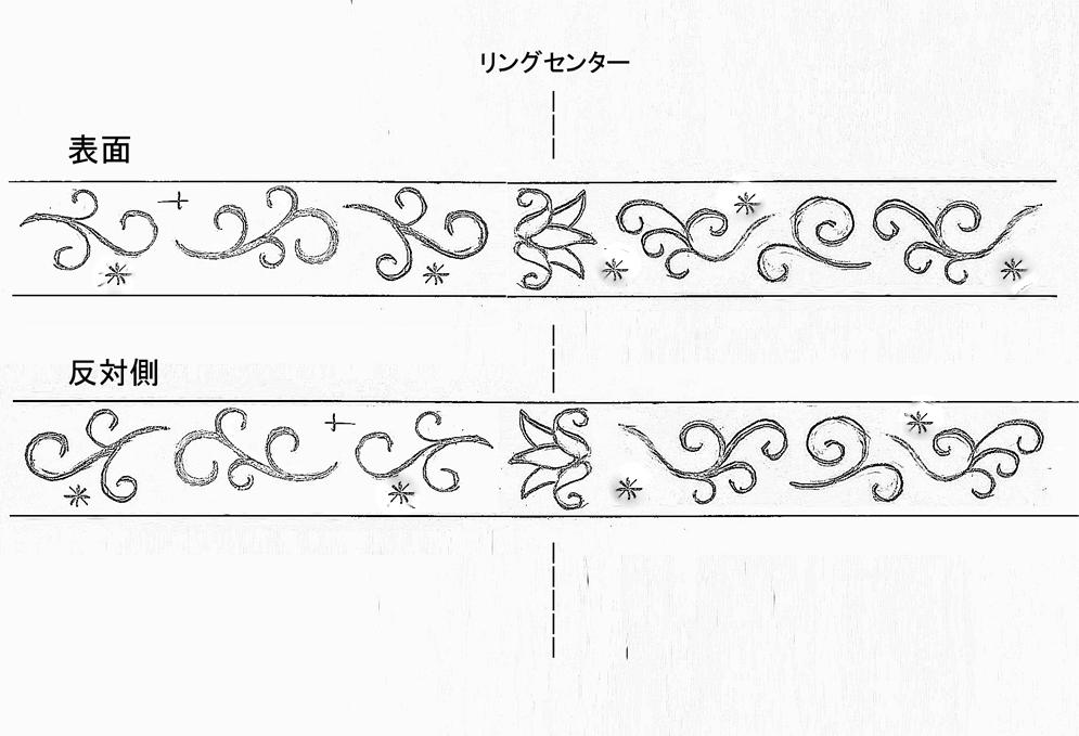 ユリモチーフの柄のラフデザイン画