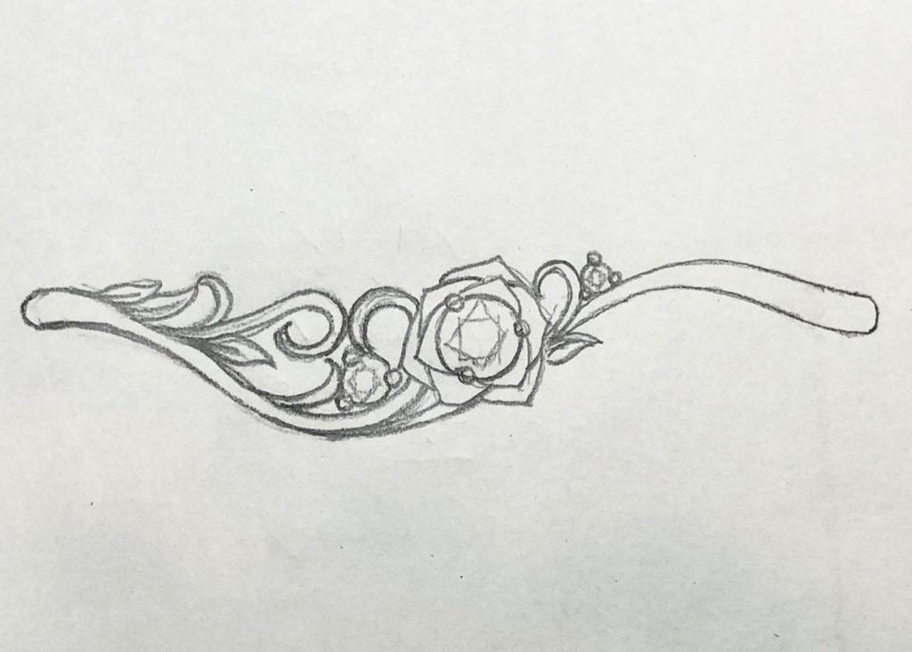 バラデザインの婚約指輪 ラフデザイン画 3