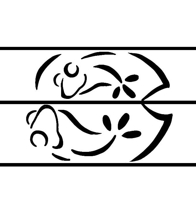 2匹のカエルが蓮の上で見つめあう結婚指輪オーダーメイド作品のカエルラフ画