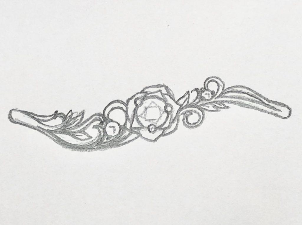 バラデザインの婚約指輪 ラフデザイン画 1