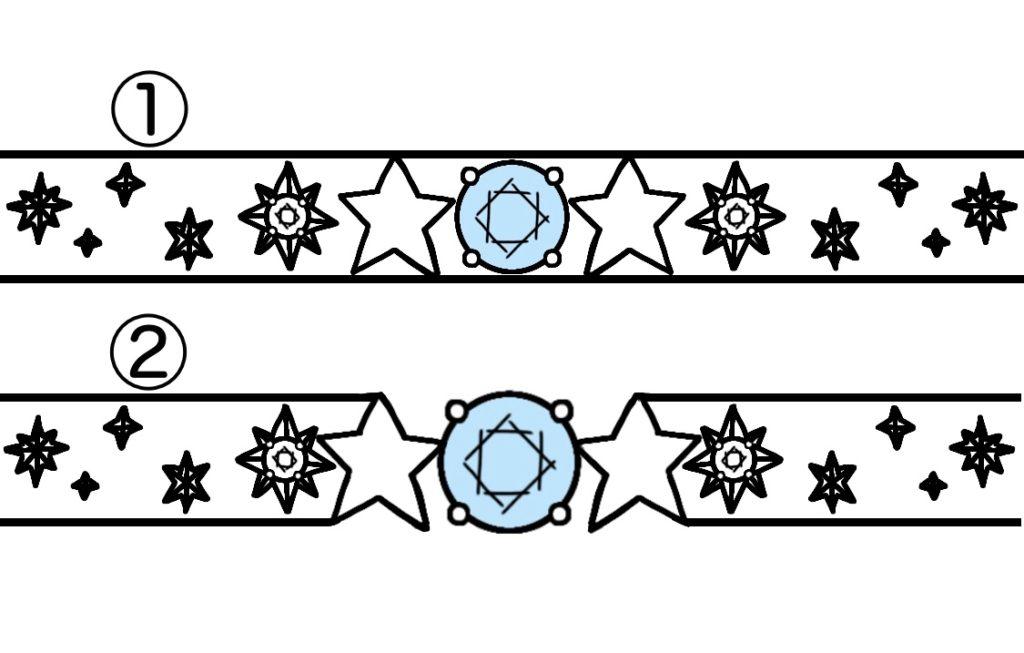 星とブルーダイヤ結婚指輪に一周デザインしたオーダー作品のラフデザイン画