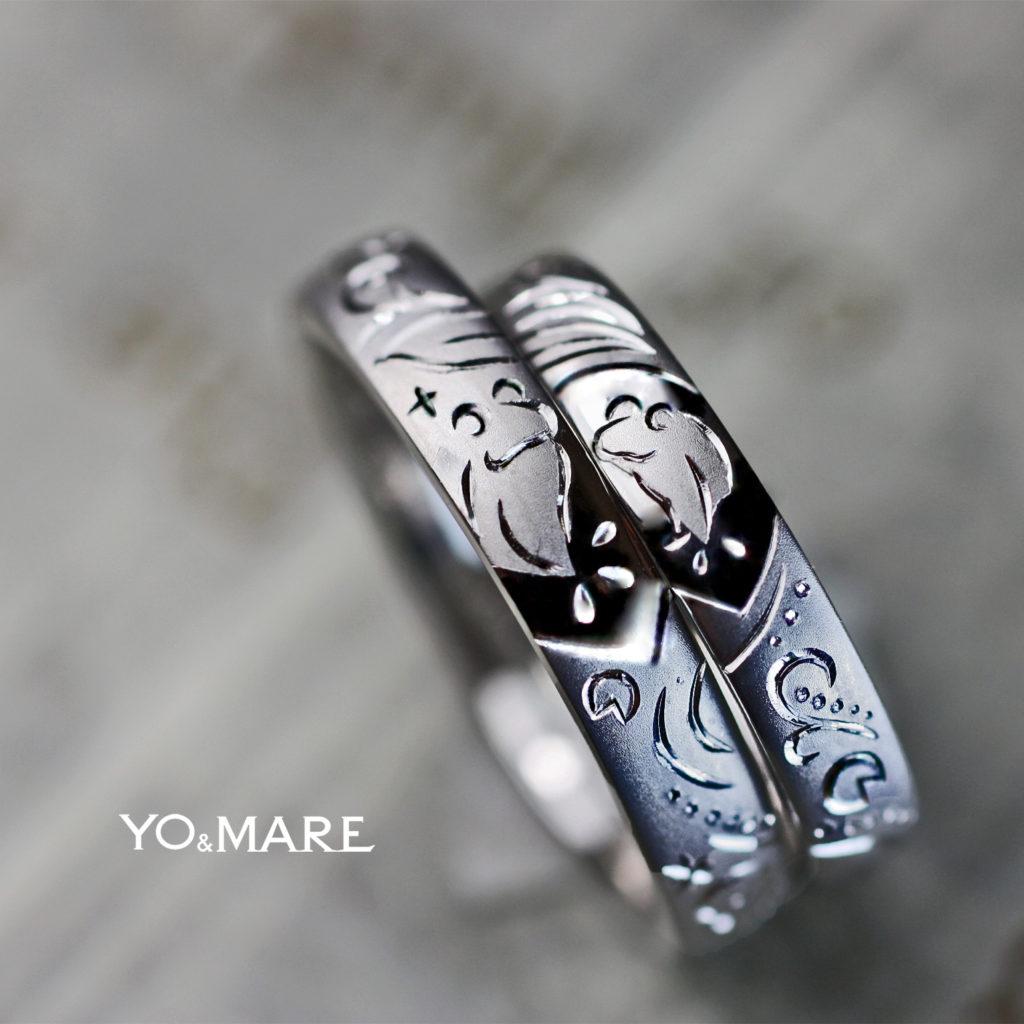 2匹のカエルが蓮の上で見つめあう結婚指輪オーダーメイド作品