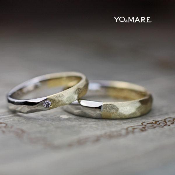 ゴールドとプラチナをハーフで繋いだツチメの結婚指輪オーダー作品