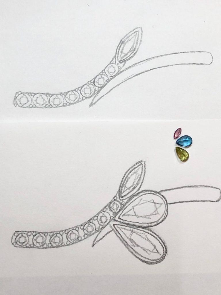 4色のカラー宝石を使ったファッションリングのデザイン