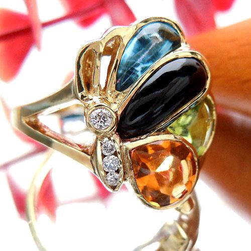 3つのカラー宝石を使ったファッションリング 3