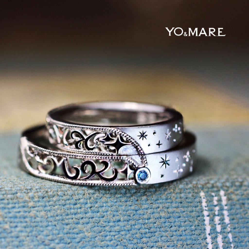 ふたりのイニシャル KとM が流星と一緒に流れていく様な結婚指輪のオーダー作品
