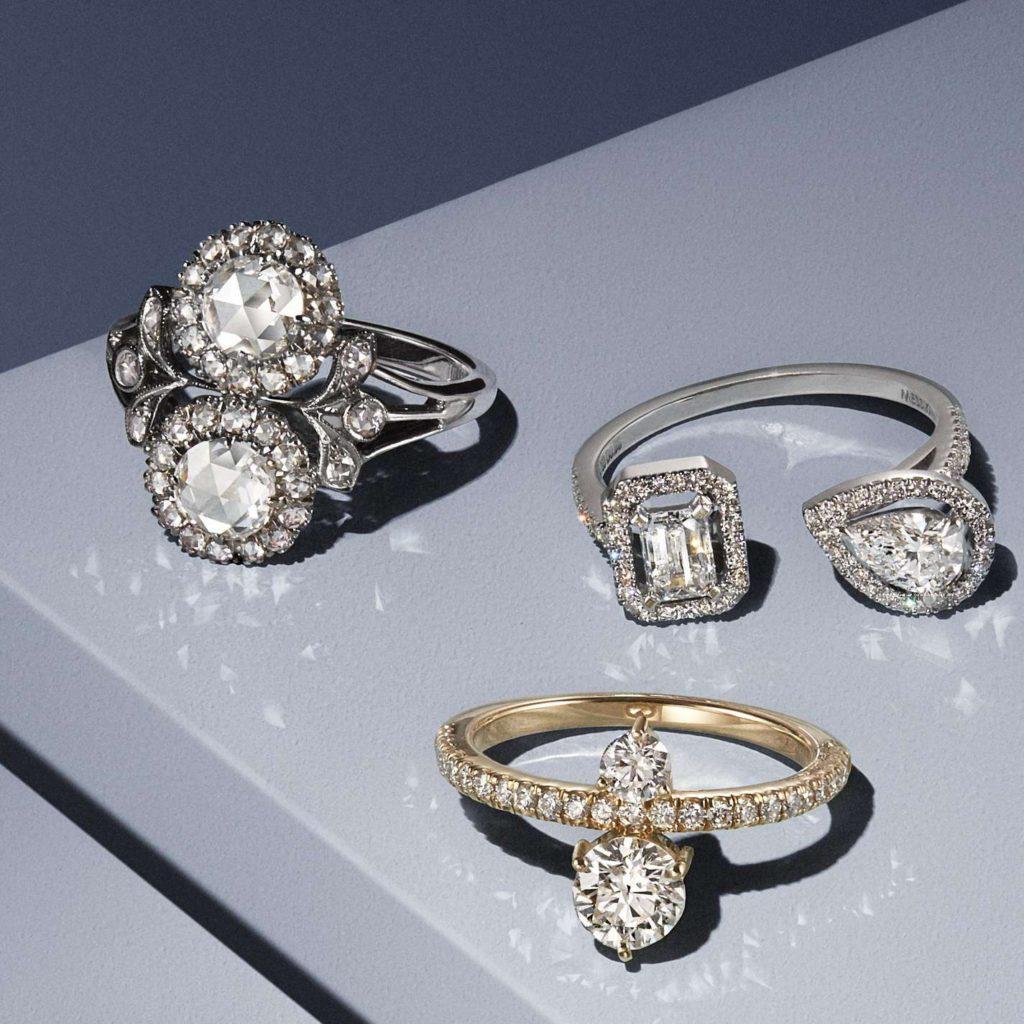 デザイナーが選ぶ美しい2つのダイヤモンドのオーダー婚約指輪20選